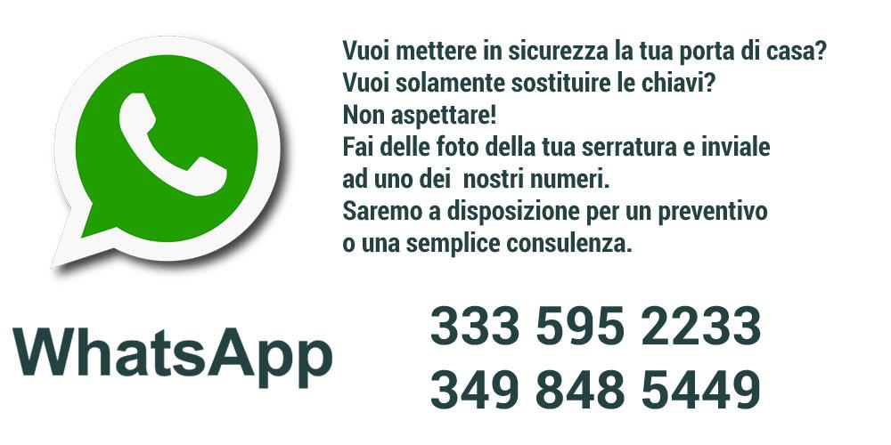 contatti whatsapp per preventivi sostituzione serrature