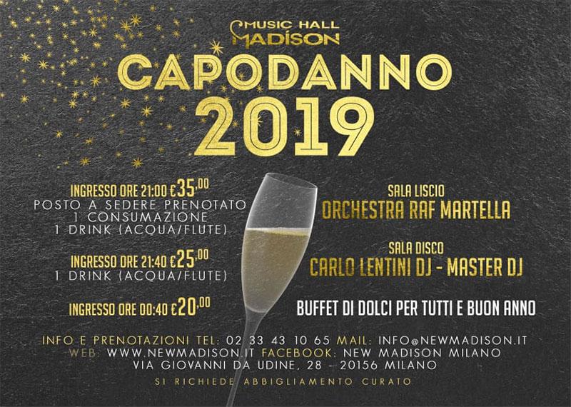Capodanno 2019 Discoteca Madison Milano