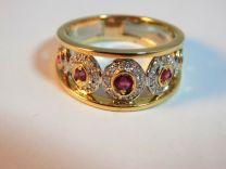 Fascia oro rubini e diamanti
